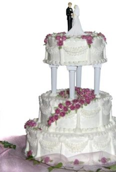 Wedding cake with bride and groom cake topper.