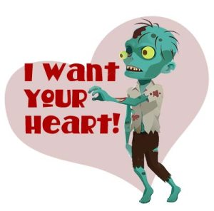 "Zombie valentine featuring a zombie with his arms outstretched and the words ""I want your heart!"" printed on it."