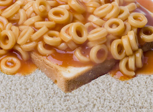 Picture of Stevie's SpaghettiOs (and a piece of bread) that he spilled on the carpet.