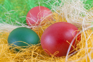 A picture of the Easter Eggs Stevie and his Mom made.
