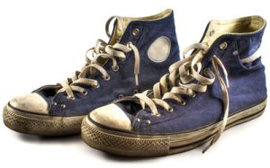 Picture of Stevie's really dirty, blue high-top sneakers.